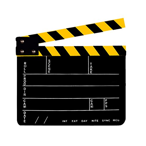 Professional Studio Camera Photography Video Acrylic Clapboard Dry Erase Director Film Movie Clapper Board Slate with Yellow/Black Sticks(9.6×11.7″ /25x30cm), Black