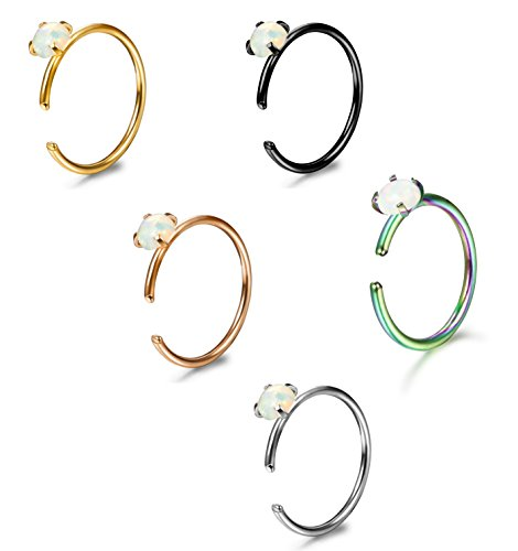 ORAZIO 5-12Pcs 20G Stainless Steel Nose Ring Hoop CZ Body Ear Piercing 5 Mixed Colors (E:5Pcs (20G,Inner Diameter:8mm))
