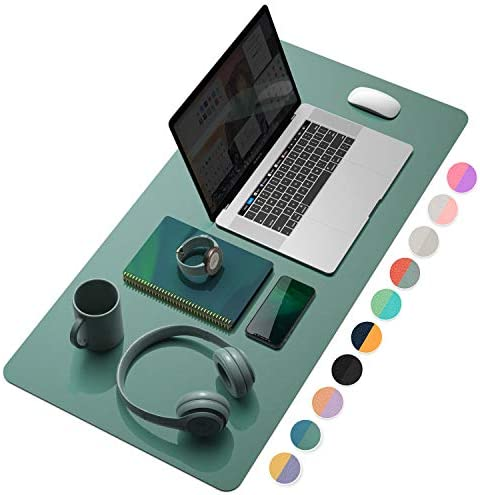 YSAGi Multifunctional Office Desk Pad, Ultra Thin Waterproof PU Leather Mouse Pad, Dual Use Desk Writing Mat for Office/Home (31.5″ x 15.7″, Pistachio Green + Green Blue)