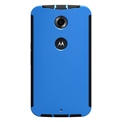 Turpro™ 3-in-1 Dual layers Case for Google Nexus 6, Anti-Bubble Ultra HD Screen Protector Silicone Hybrid Bumper Frame with Hard Back Cover Case for Motorola Nexus 6 (Blue)