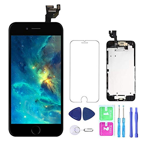 Screen Replacement for iPhone 6 Black 4.7''Full Assembly LCD Display Touch Digitizer with Front Camera Home Button Proximity Sensor Earpiece Speaker Screen Protector, Repair Tools