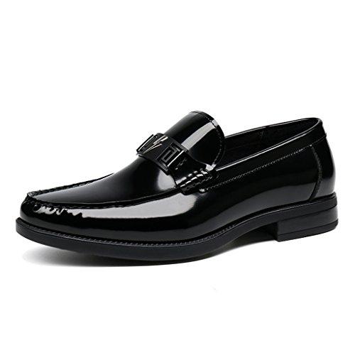 HWF Scarpe Uomo in Pelle Primavera scarpe da uomo in pelle scarpe casual lounger stile British Business (Colore : Vino rosso, dimensioni : EU 41/UK7) Nero
