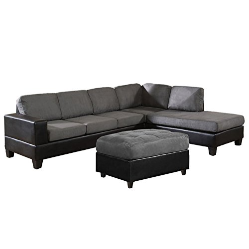 US Pride Sierra Microfiber Sectional Sofa with Ottoman, Right, Gray