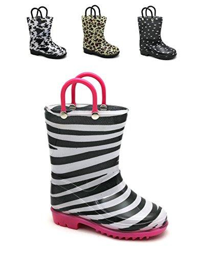 Storm Kidz Kids Girls Printed Rainboots, Zebra Little Kid 12 (Print Zebra Boots)