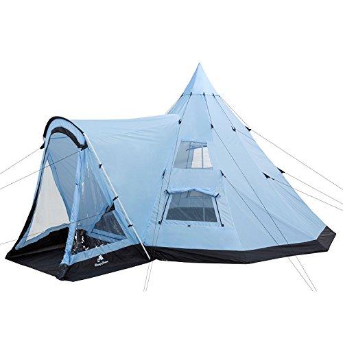 CampFeuer – Tipi Zelt (Teepee) – Großes Indianerzelt mit Vorbau, hellblau/schwarz, ca. (L) 560 cm x (B) 450 cm x (H) 300…