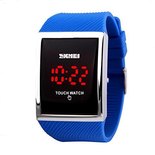 Gosasa Touch Screen Digital LED Waterproof Boys Girls Sport Casual Wrist Watches (Blue)