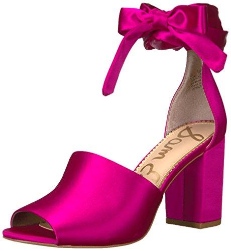 Sam Edelman Women's Odele Heeled Sandal, Hot Pink Satin, 7.5 Medium US (Hot High Heel)