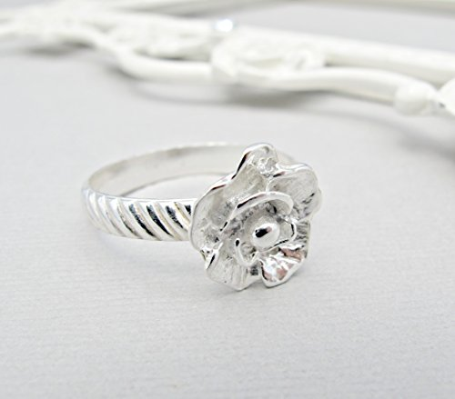 Size 9.5 Sterling Silver Rose Ring, Silver Ring, Sterling Ring, Rose Jewelry
