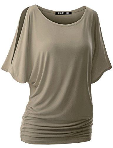 [TWINTH Drape Tunic Top Plus Size Loose Fit Cut Out Off Shoulder KHAKI 5XL] (Elegant Khaki)