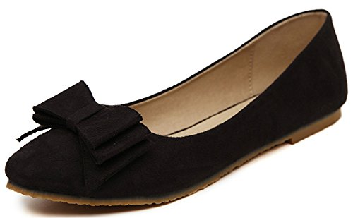 Difyou Womens Bow Chaussures En Daim Bout Pointu Casual Flats Noir