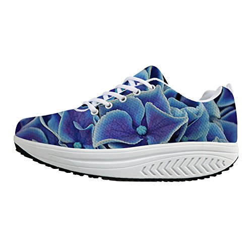 - FOR U DESIGNS Fashion Blue Shoes Woman Platform Swing Wedges Casual Outdoor Walking Fitness Sneakers with Flower US 8