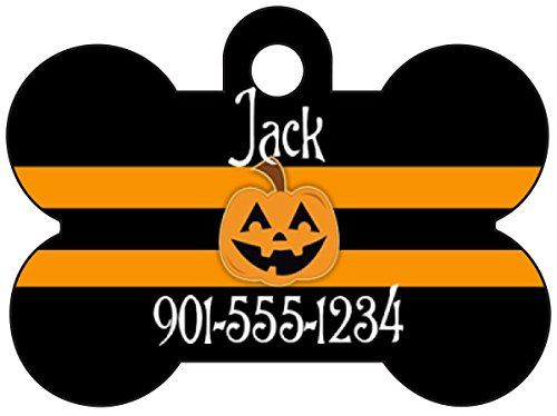 Halloween Themed Pet Id Tag for Dogs & Cats Personalized w/ Name & Number (Pumpkin, Bone 1.5x1
