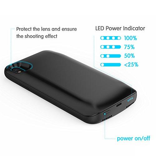 iPhone X Battery Charger Case, Moonmini 6000mAh Shockproof Backup externe Li-polymère Chargeur Power Bank Housse de protection (noir)
