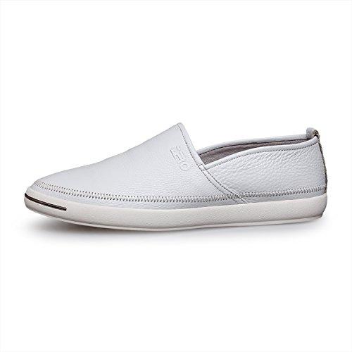 Zro Mens Slip En Cuir Sur Les Mocassins Occasionnels Chaussures Mocassin Blanc