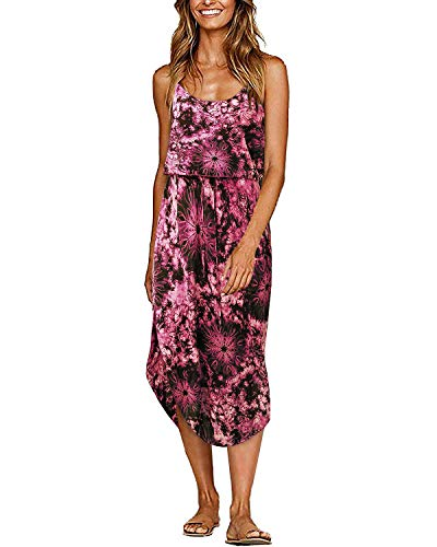 Beach Wedding Dress,Women's Tie Dye Sleeveless Casual Loose T-Shirt Dress Purple XL -