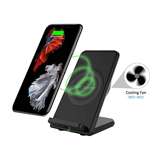 Wireless Charger Stand with Fan, Maxjoy Qi Wireless Charger, 10W Wireless Charger, Fast Wireless Charger Compatible for iPhone Xs/XR / X / 8/8 Plus Samsung Galaxy S9 /S9+ /S8 / S8+ / S7 / Note 8