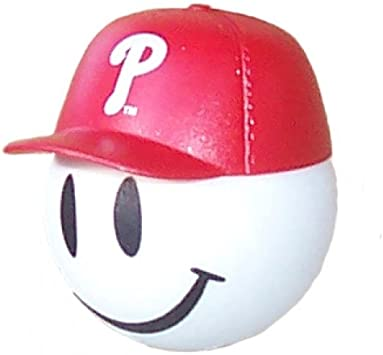 Free Yellow Smiley Ball HappyBalls Quantity 3 pcs Pack Collectible 2 Philadelphia Phillies Baseball Car Antenna Topper//Rear View Mirror Dangler//Mirror Hanger//Auto Accessories