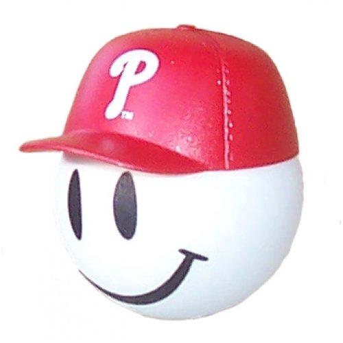 Philadelphia Phillies Parking - HappyBalls Quantity 3 pcs Pack - Collectible - 2 Philadelphia Phillies Baseball Car Antenna Topper/Rear View Mirror Dangler/Mirror Hanger/Auto Accessories + Free Yellow Smiley Ball