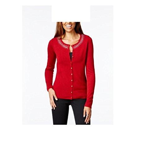 Rhinestone Trim Sweater - Karen Scott Womens Rhinestone Trim Crew Cardigan Sweater Red XL