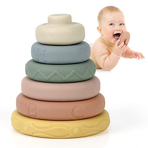 Mini Tudou 6 Pcs Baby Stacking & Nesting Circle Toy, Soft Building Rings Stacker & Teethers, Squeeze Play with Early…