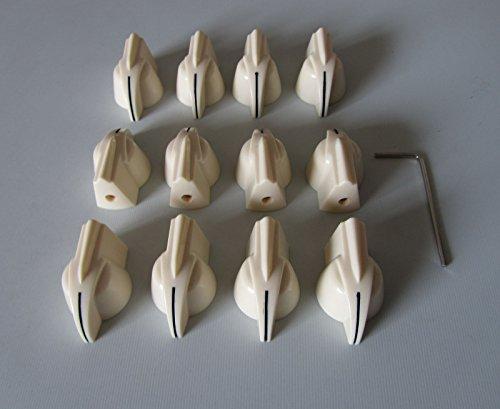 Vintage Set Screw Guitar AMP Chicken Head/Effect Pointer Knob, 12 Pcs Aged White