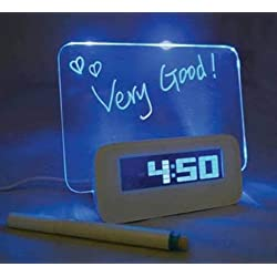 Luminous Message Board Digital Alarm Clock With 4 Port USB Hub LCD Calendar