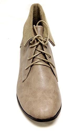 Rafraîchir Korsa-01 Femmes Plat À Lacets Sneaker Collier À Revers Désert Bottes Chukka Pu Oxfords Taupe
