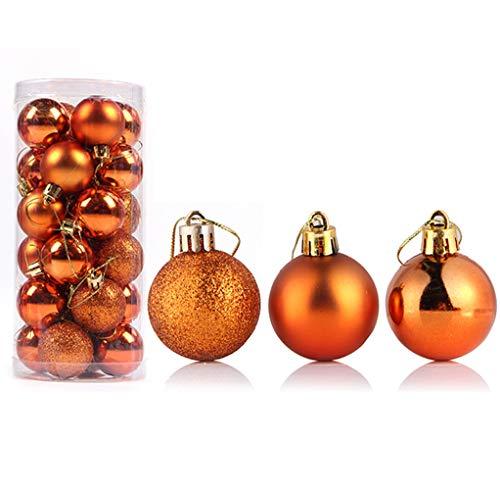 Bestjybt 24pcs Christmas Ball Ornaments Shatterproof Christmas Decorations Tree Balls for Holiday Wedding Party Decoration, Tree Ornaments Hooks Included (Orange, 4cm/1.57
