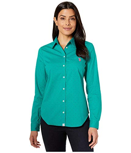 U.S. Polo Assn. Women's Dot Stretch Poplin Blouse Turquoise Rapids X-Large