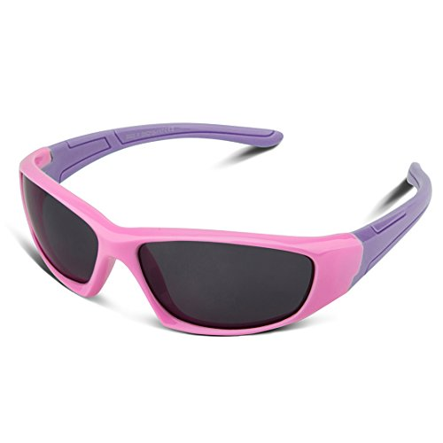 bf392dbb88e RIVBOS Rubber Kids Polarized Sunglasses With Strap Glasses for Boys Girls  Baby and Children Age 3-10 RBK003 (Pink) - Buy Online in KSA.