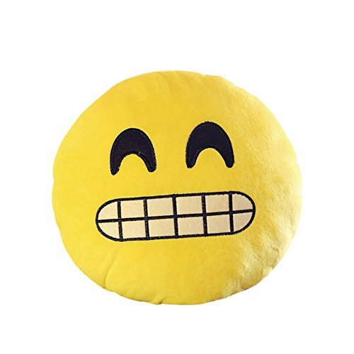 Emoji Emoticon Round Cushion Pillow Cute Yellow Soft Stuffed Plush Toy Doll for Kids Party Decorations