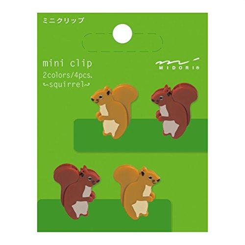 Midori Mini Clip, 4 Pieces, Squirrels (43311006)