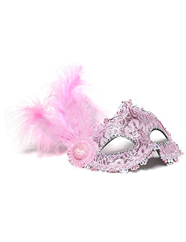 Couple Halloween Customs (Jevenis Venice Masquerade Ball Mask Costume Party Mask Carnival Ball Mask Masquerade Mardi Gras Halloween Mask Custom Mask (Pink))