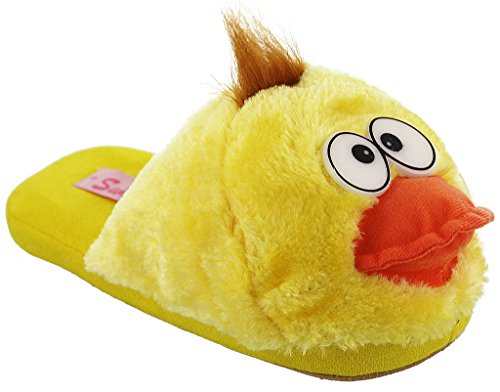 Whimiscal Ladies Animal Character Slip On Fuzzy Plush Slippers Yellow rZ5ni