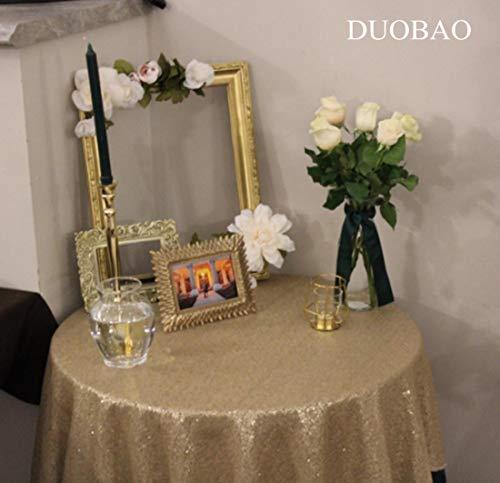 "DUOBAO Sequin Tablecloth Round 120'' Matte Gold Sequin Wedding Tablecloth Round Polyester Sequin Cloth,Sequin Round Tablecloth 120"""