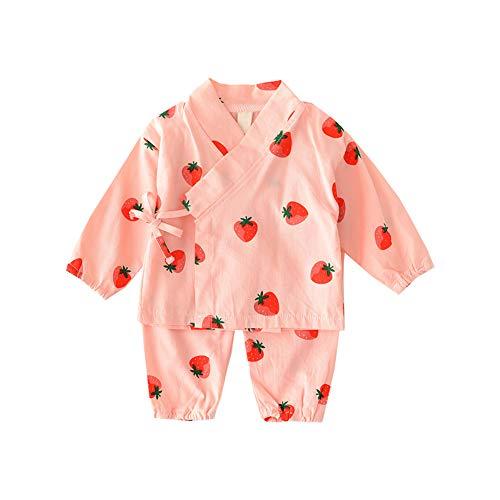 Baby Sleepwear Set Japanese Cotton Pajamas Set Kimono Shirt with Cartoon Strawberry Printed Pants Set for Infant Toddlers Child 80cm Pink 1Set (Kimono Japanese Wear)