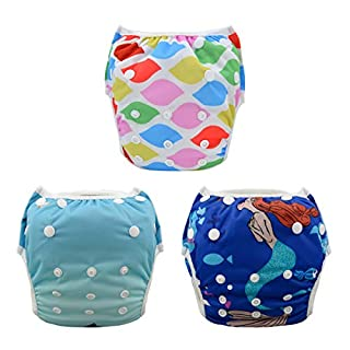 ALVABABY Swim Diapers 3pcs One Size Reuseable Washable Adjustable for Swimming Lesson Baby Shower Gifts 3SW23