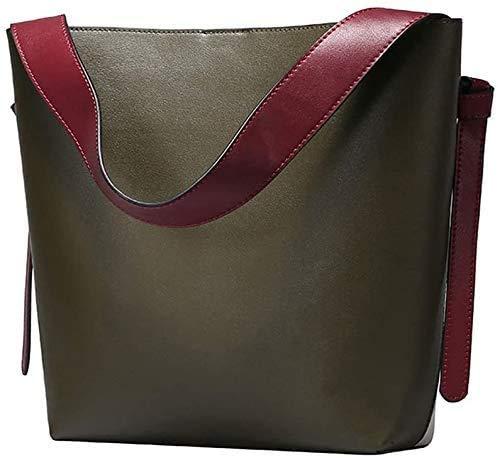 S-ZONE Women Contrast Color Leather Bucket Tote Bag Shoulder Purse Handbags