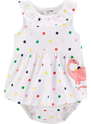 Carter's Baby Girls' 1-Piece Romper (Dots Multi, 9 Months)