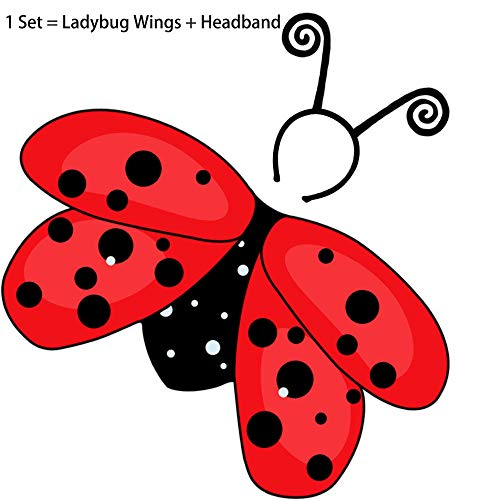 Child Miraculous-Ladybug-Costume for Toddler Girls, Fairy-Wings and Antenna-Headband for Animal-Cosplay Dress-up Red Black -
