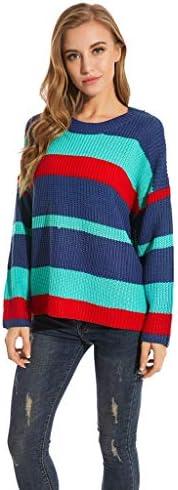 [해외]Sunnyadrain Women Autumn Winter Casual Round Neck Striped Pullover Sweater / Sunnyadrain Women Autumn Winter Casual Round Neck Striped Pullover Sweater Green