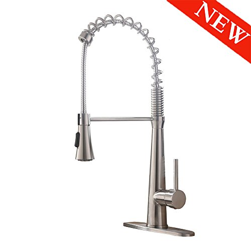 - VAPSINT High-Arch 360 Degree Lead-Free Spring Brushed Nickel Single Handle Kitchen Faucet, Pull Out Kitchen Sink Faucet (With Deck Plate)