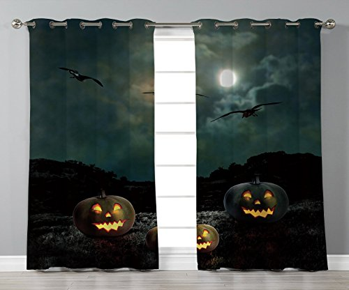 Thermal Insulated Blackout Grommet Window Curtains,Halloween,Yard of an Old House at Night Majestic Moon Sky Creepy Dark Evil Face Pumpkins Decorative,Multicolor,2 Panel Set Window Drapes,for Living R for $<!--$51.99-->