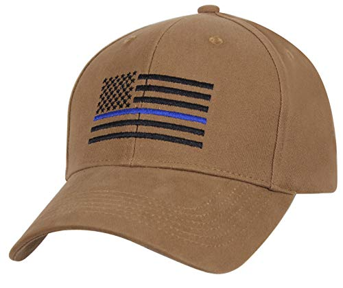 (Rothco Thin Blue Line Flag Low Profile Cap, Coyote Brown, One Size)