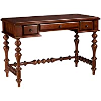 Southern Enterprises Huntleigh Turned-Leg Writing Desk 46 Wide, Buckeye Oak Finish with Antique Bronze Accents