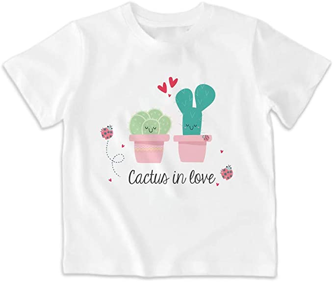SUPERMOLON Camiseta Infantil Cactus in Love Blanca: Amazon.es ...