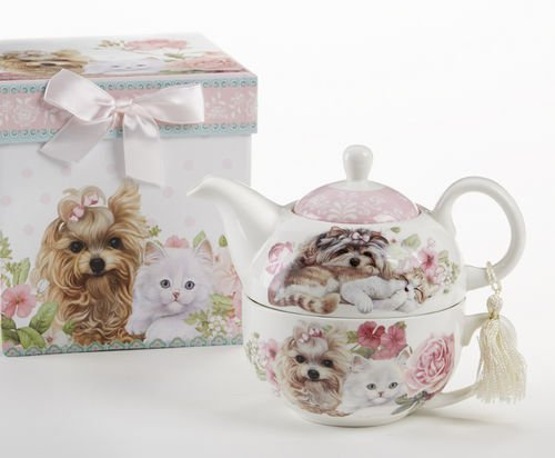Delton Products Puppy Dog & Kittens Pattern Porcelain Tea for One Tea Pot