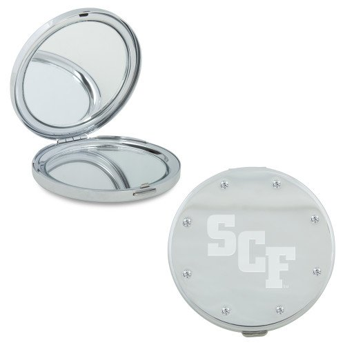 State College of Florida Silver Bling Compact Mirror 'SCF Engraved'