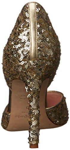 Kate Spade New York Womens Portia Dorsay Pompa Platino Metallico Paillettes