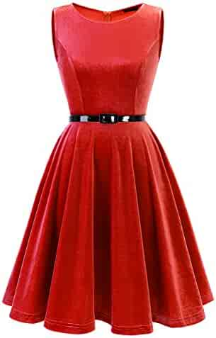 2291faa66b9f IVNIS Women's Vintage 1950s Sleeveless Velvet Swing Party Cocktail Dress  with Belt